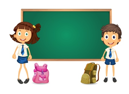 illustration of a kids and green board on white background Vector