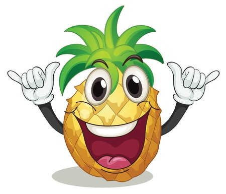 illustration of pineapple on a white background Vector