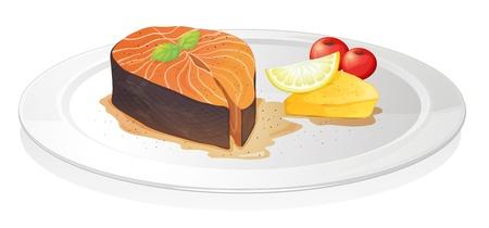 plato de pescado: Ilustraci�n de una rodaja de pescado cocido con lim�n, el queso y las bayas en un fondo blanco