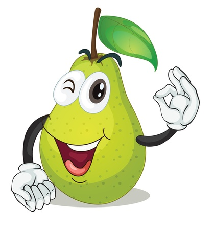 pear: illustration of pear on a white background Illustration