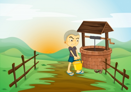illustration of a boy and water well in a beautiful nature