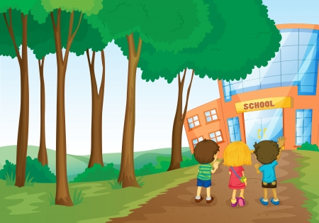 greenary: illustration of a kids in front of school Illustration