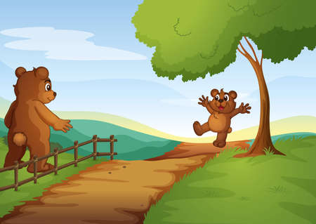 illustration of bears in a beautiful nature Illustration