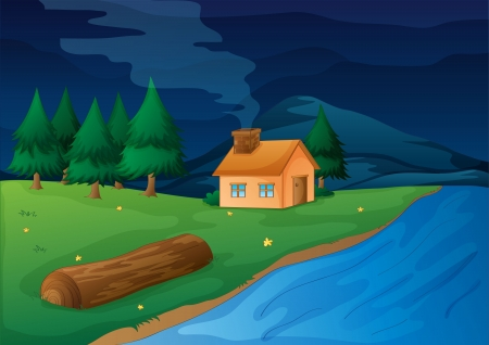 river bank: illustration of a house and river in a beautiful nature