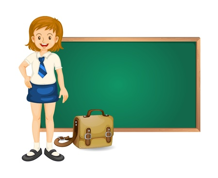 green hair: illustration of a girl and green board on white background Illustration
