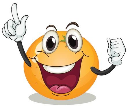 funny fruit: illustration of orange on a white background