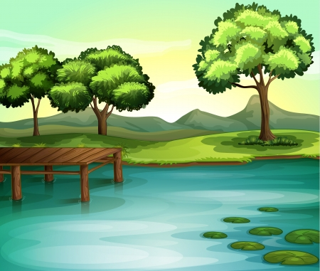 lake of the woods: illustration of a river in a beautiful nature