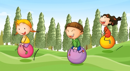llustration of a kids playing in a beautiful nature Vector