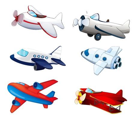 avion caricatura: Ilustraci�n de aviones diferentes sobre un fondo blanco Vectores