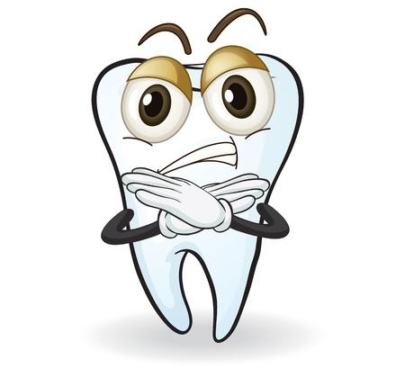 perişan: beyaz bir arka plan üzerinde bir diş illüstrasyon Çizim