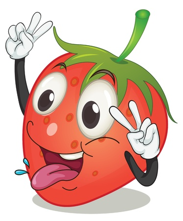 cartoon strawberry: illustration of strawberry on a white background