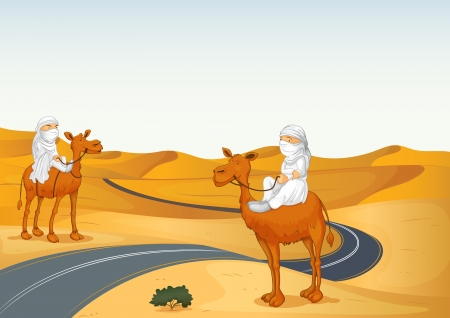 illustration of arabians riding on a camel in a desert Stock Vector - 15609624