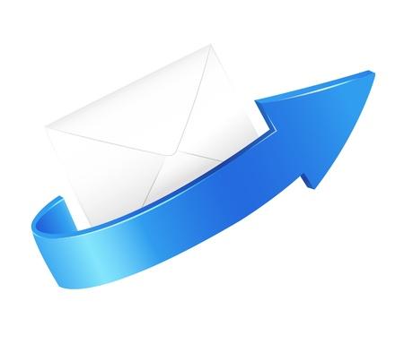 illustration d'une flèche et d'enveloppe sur un fond blanc