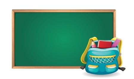 school bag: illustrazione di un bordo verde e sacchetto di scuola su sfondo bianco