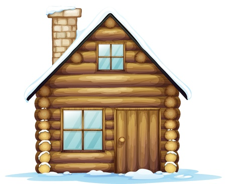wooden window: illustration of a house and ice on a white background
