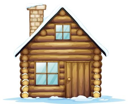 caba�a: Ilustraci�n de una casa y el hielo sobre un fondo blanco