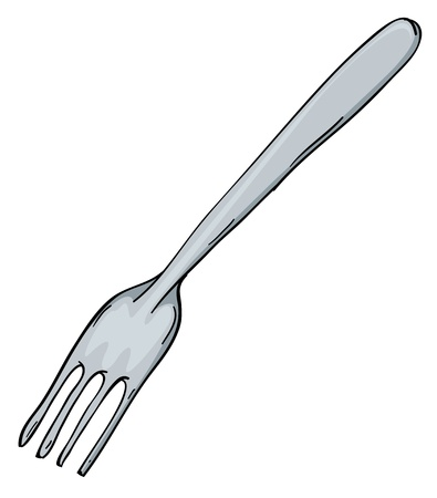 formal place setting: detailed illustration of a fork on a white background