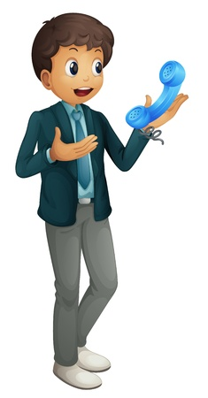 illustration of a boy and phone receiver on a white background Vector