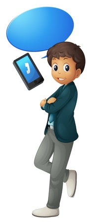 blue grey coat: illustration of a boy and cell phone on a white background