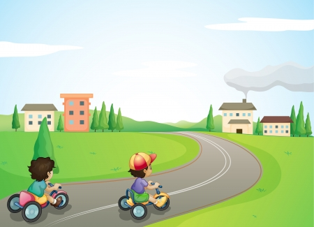 illustration of kids and a road in a beautiful nature Stock Vector - 15609626
