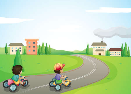 tricycle: illustration of kids and a road in a beautiful nature