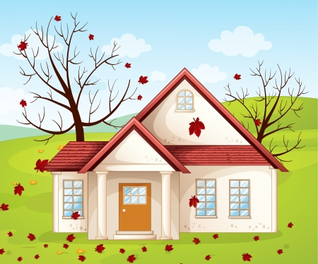 flower structure: illustration of a house in a beautiful nature Illustration