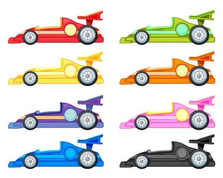 course de voiture: illustration de plusieurs voitures sur un fond blanc