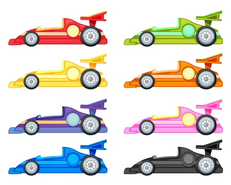 speed race: illustration of various cars on a white background