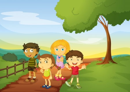 illustration of kids in a beautiful nature Stock Vector - 15609634
