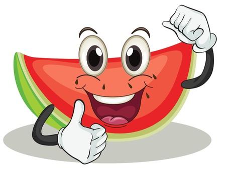 vegetable cartoon: Ilustraci�n de una sand�a en un fondo blanco