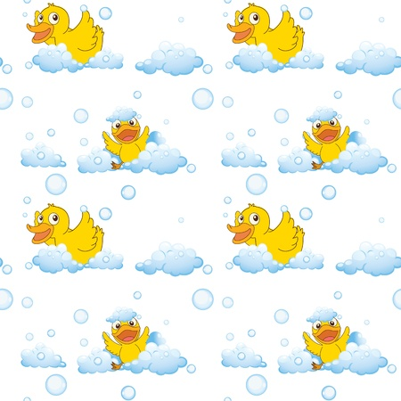 bubble bath: illustration of ducks and clouds on a white background