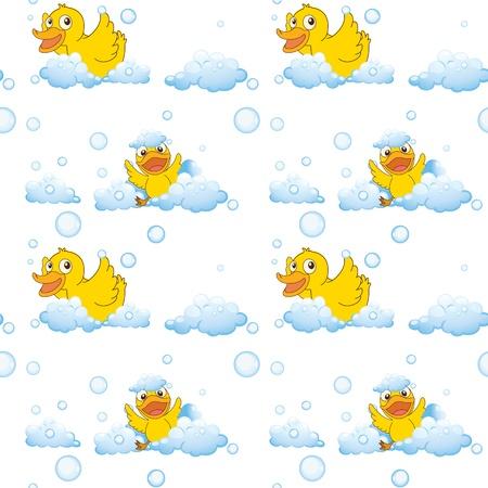 baby duck: illustrazione di anatre e nuvole su uno sfondo bianco Vettoriali