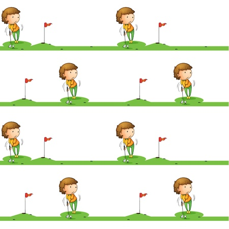 illustration of a boy playing golf on a white background Vector