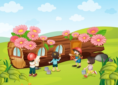 illustration of a kids painting wooden house in nature Stock Vector - 15667960