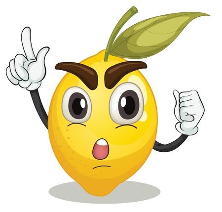 cartoon vegetable: illustration of lemon smiley on white background