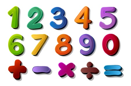 plus minus: illustration of numbers and maths symbols on white background Illustration