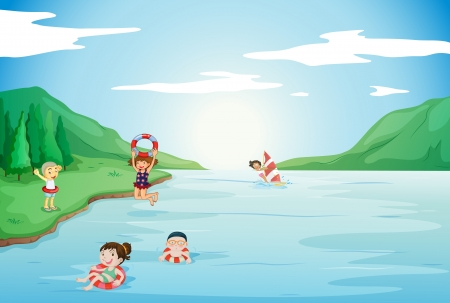 children swimming: illustration of kids swimming in water in nature