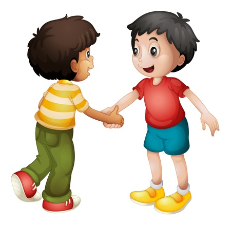 family with two children: illustration of two kids shaking hands on white background
