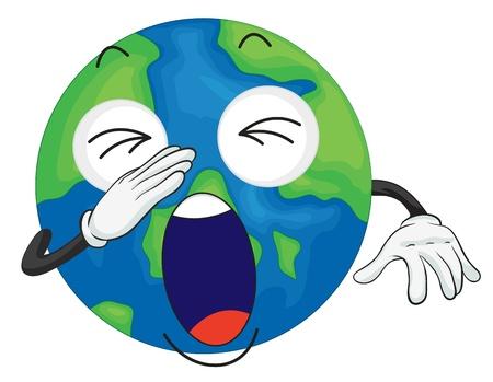 yawning: detailed illustration of planet earth on white background