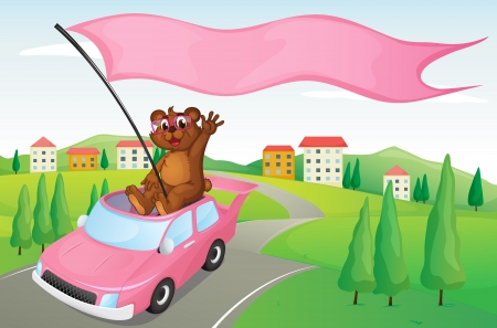 illustration of a tiger cub in a car in nature Vector