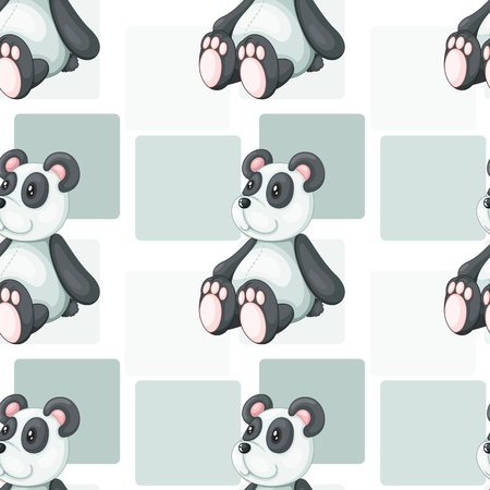 detailed illustration of panda on grey square patches Vector