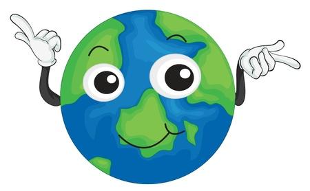 planeta tierra feliz: ilustración detallada de la tierra del planeta en fondo blanco