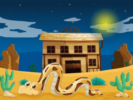 wasteland: illustration of a snake in front of old house