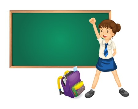 1 school bag: illustration of green board bag and student on white Illustration