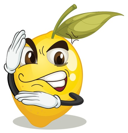 illustration of lemon smiley on white background Vector
