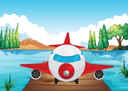 illustration of a air plane landing in nature Vector