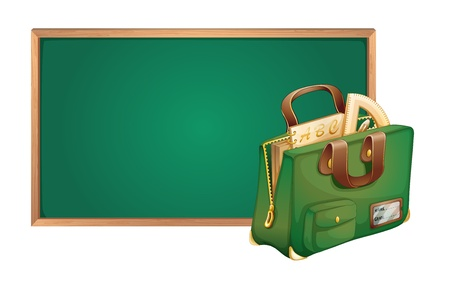 detailed illustration of green board and school bag Stock Vector - 15667408