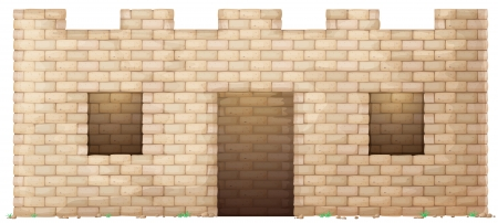 illustration of a brick wall house on white background Vector