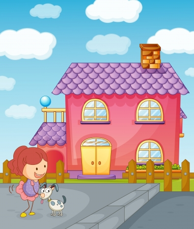 window shade: illustration of a girl puppy and house in nature