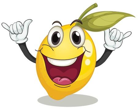 limon caricatura: Ilustración de un smiley limón en un fondo blanco